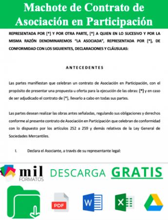 Formato de Contrato de Asociación en Participación