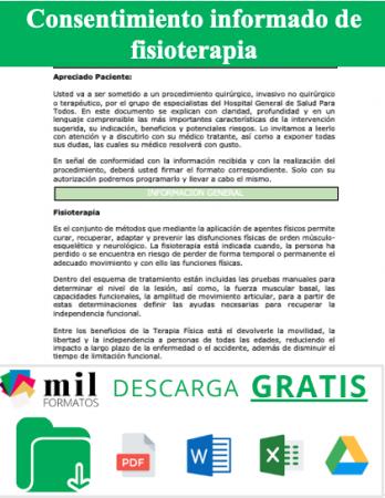 Carta de consentimiento informado de fisioterapia