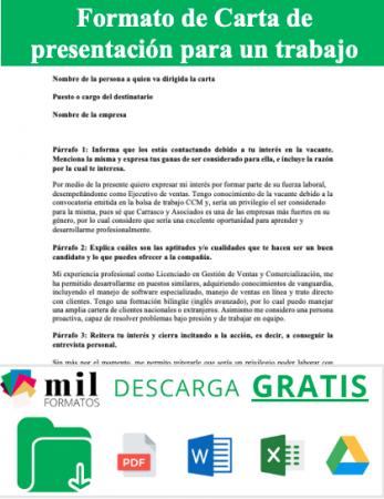 Carta de presentación para un trabajo