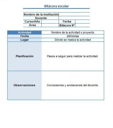 Formato de Bitácora escolar (excel)