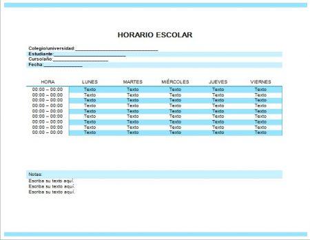 Formato de horario escolar en Word