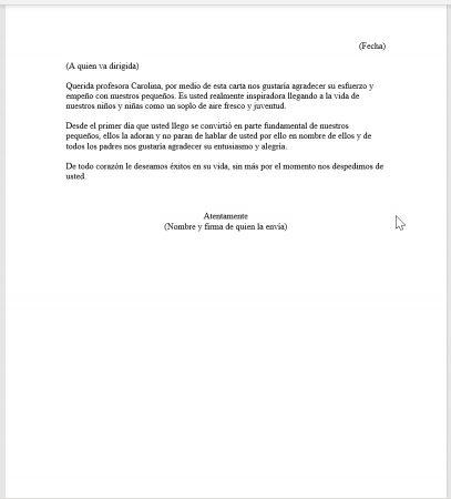 Formato de Carta para una maestra especial 2