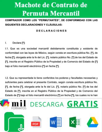 Formato de Contrato de Permuta Mercantil