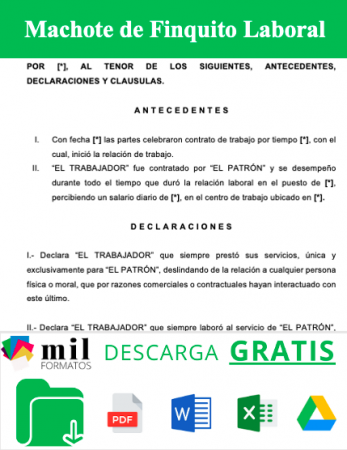 Formato de Finiquito Laboral