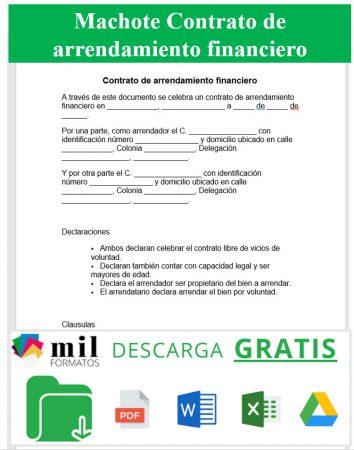 Formato de Contrato de Arrendamiento Financiero
