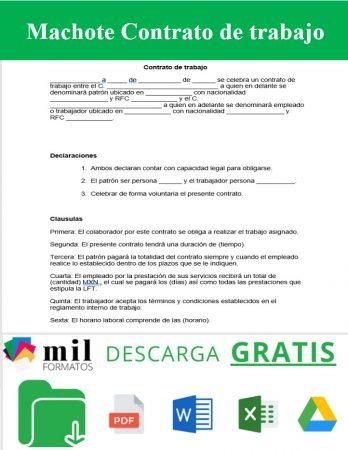 Formato de contrato de trabajo