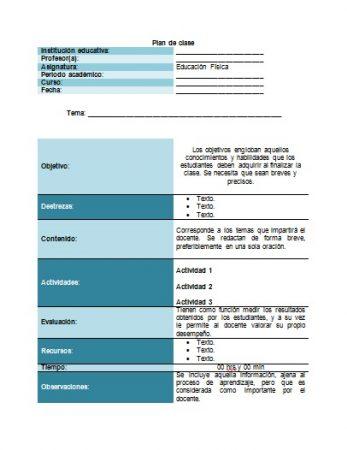 Formato de plan de clase educación física Word