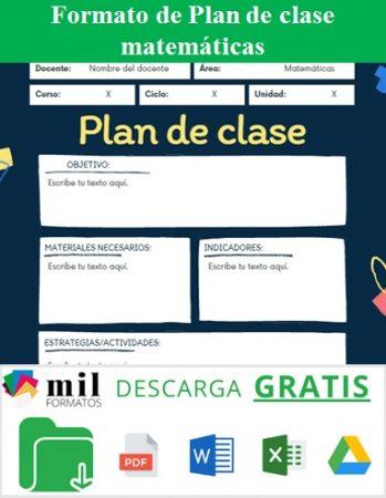 Formato de plan de clase matemáticas