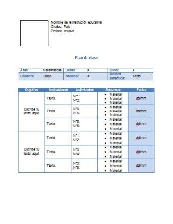Formato de plan de clase de matemáticas Word