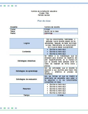 Formato de plan de clase preescolar word