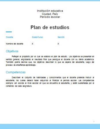 Formato de Plan de Estudios Word