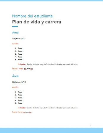 Formato de Plan de Vida y Carrera Word