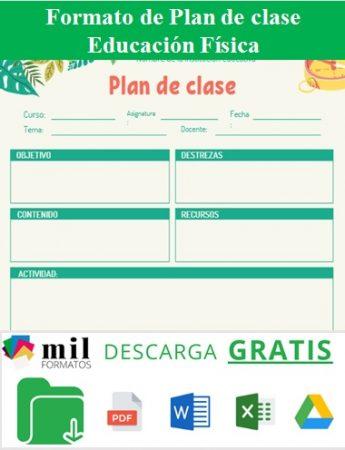 Formato para plan de clase educación física