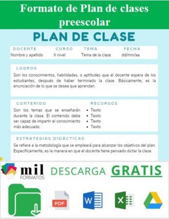 Formato para plan de clases preescolar