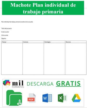 Formato Plan de Trabajo Individual Primaria