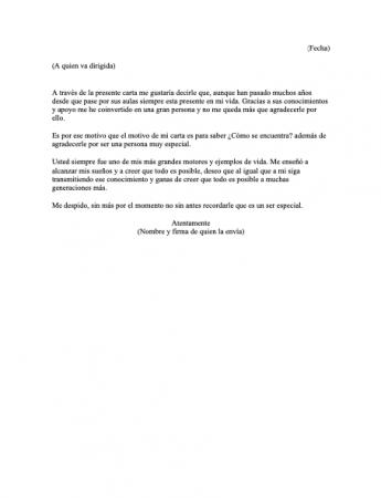 Carta para una maestra especial
