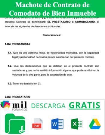 Formato de Contrato de Comodato de Bien Inmueble