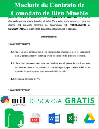 Formato de Contrato de Comodato de Bien Mueble
