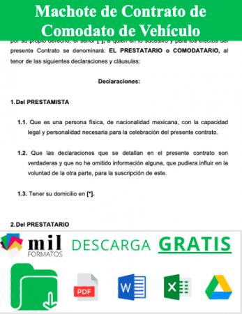 Formato de Contrato de Comodato de Vehiculo