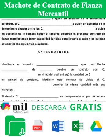 Formato de Contrato de Fianza Mercantil