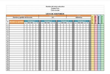 Formato de lista de asistencia escolar excel