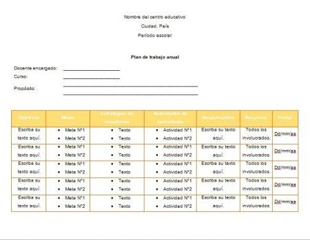 Formato de plan de trabajo anual primaria en Word