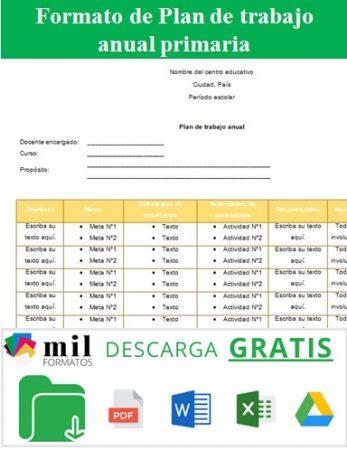 Formato para plan de trabajo anual primaria
