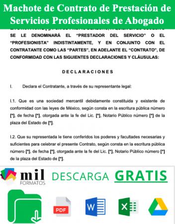 Formato de Contrato de Prestacion de Servicios Profesionales de Abogado