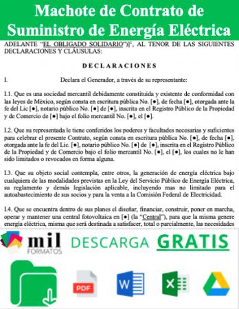 Formato de Contrato de Suministro de Energía Eléctrica