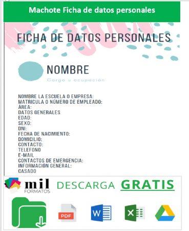 Formato de Ficha de datos personales