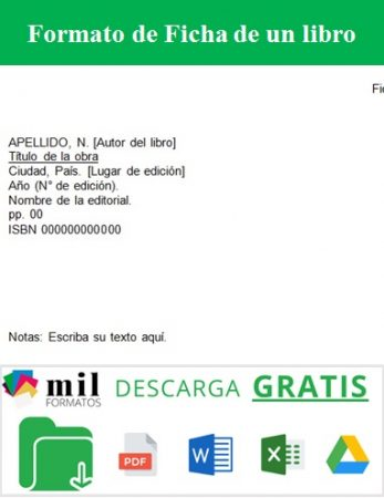 Formato de Ficha de un libro