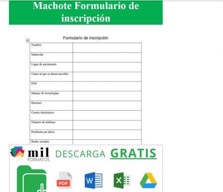 Formato de formulario de inscripción 1