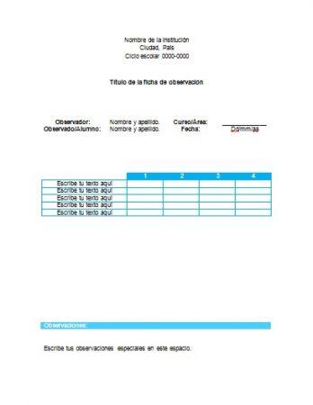 Formato de Ficha de observación