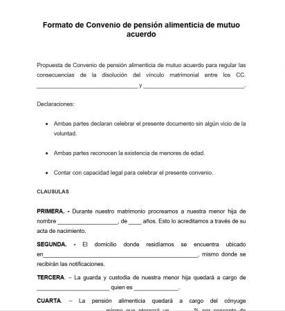 Formato de Convenio de pensión alimenticia de mutuo acuerdo