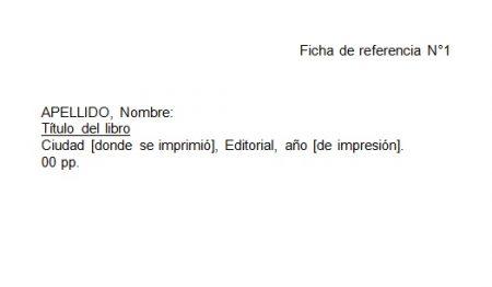Formato de ficha de referencia en Word