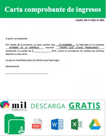 Carta comprobante de ingresos
