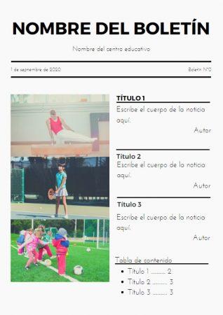 Formato de Boletín informativo de deportes en Canva
