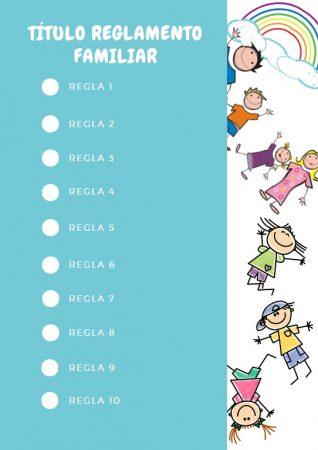Formato de reglamento familiar en Canva