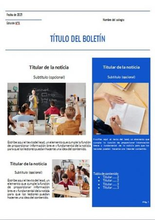Formato de Boletín informativo escolar en Word
