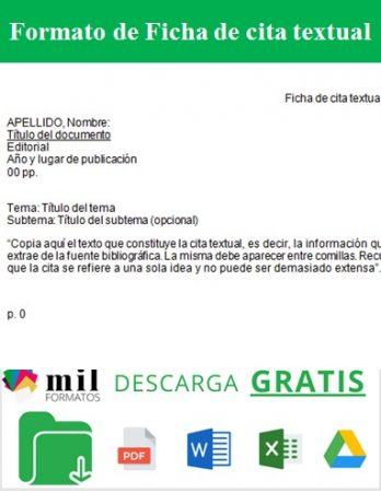 Formato de Ficha de cita textual