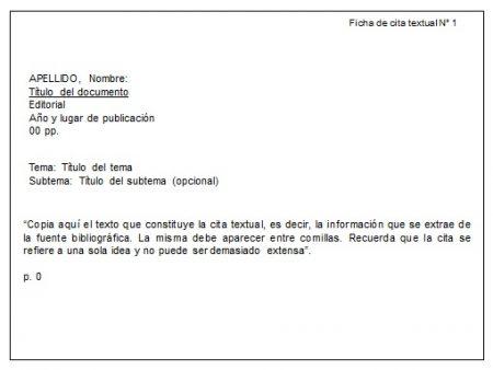 Formato de Ficha de cita textual en Power Point