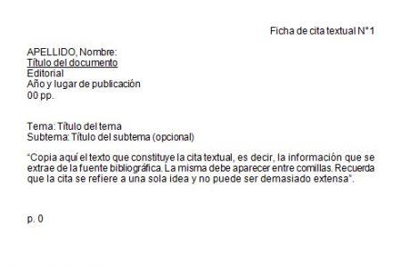 Formato de Ficha de cita textual en Word
