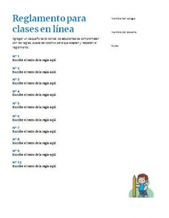 Formato de Reglamento para clases en línea Word