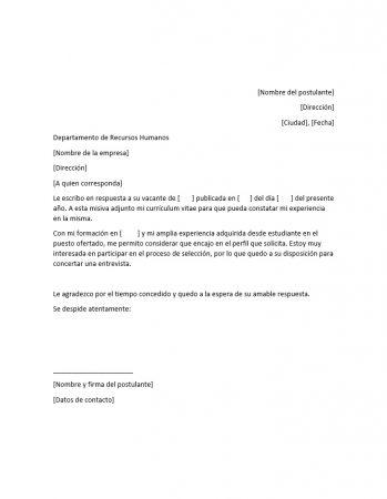 Ejemplo de carta de presentación o postulación