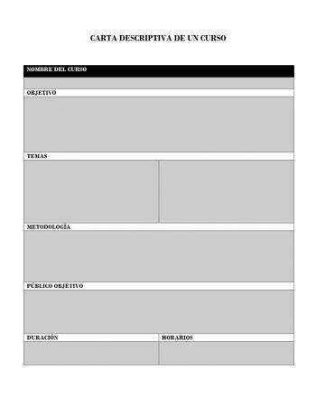 Formato de carta descriptiva de un curso