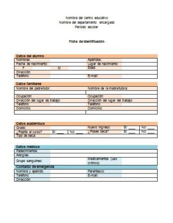 Formato de Ficha de identificación en Word