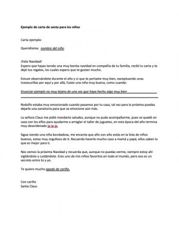 Formato de carta de Santa para los niños