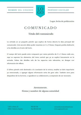 Formato de Comunicado escolar en Canva
