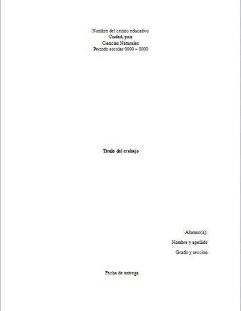 Formato de portada de Ciencias Naturales en Word