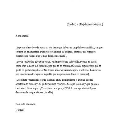 Carta para enamorar a una mujer